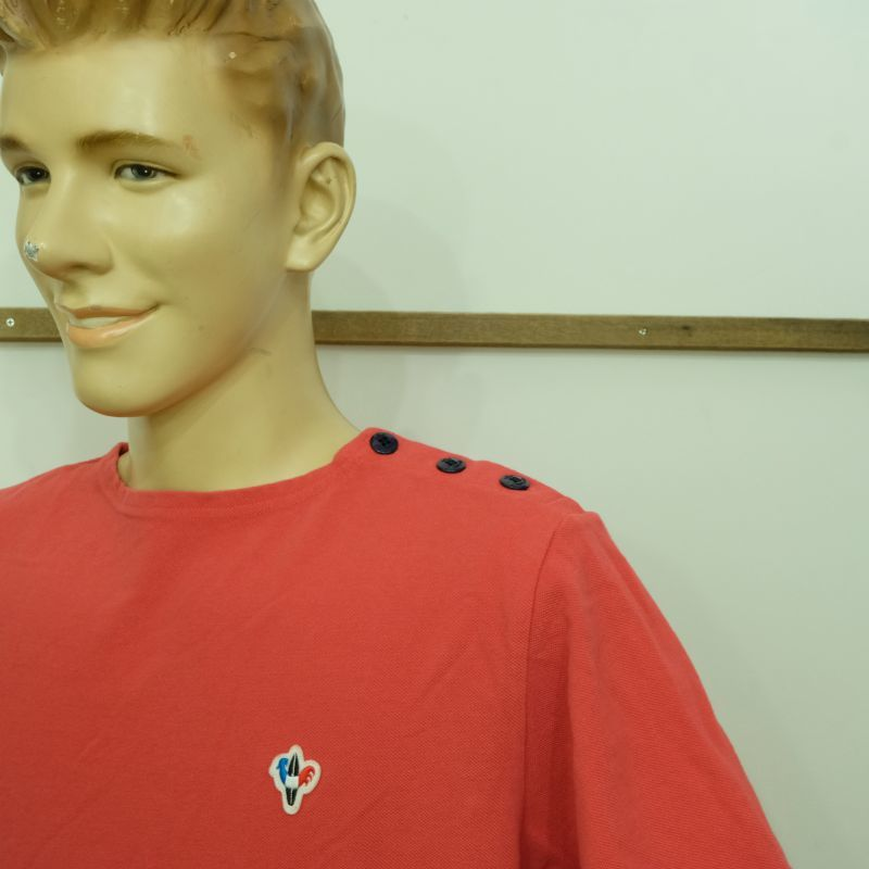 ARVOR MAREE ピケ素材のショルダーボタンTシャツ